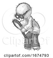 Sketch Doctor Scientist Man Inspecting With Large Magnifying Glass Left