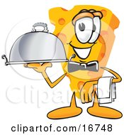 Wedge Of Orange Swiss Cheese Mascot Cartoon Character Carrying A Serving Platter While Waiting Tables