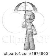 Sketch Thief Man Holding Umbrella