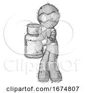 Poster, Art Print Of Sketch Thief Man Holding White Medicine Bottle