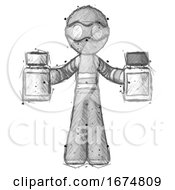 Sketch Thief Man Holding Two Medicine Bottles