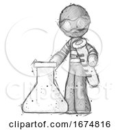 Sketch Thief Man Holding Test Tube Beside Beaker Or Flask