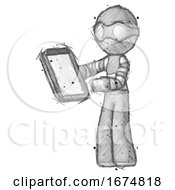 Poster, Art Print Of Sketch Thief Man Reviewing Stuff On Clipboard
