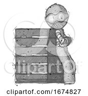 Poster, Art Print Of Sketch Thief Man Resting Against Server Rack Viewed At Angle