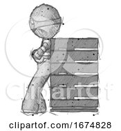 Poster, Art Print Of Sketch Thief Man Resting Against Server Rack