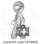 Poster, Art Print Of Sketch Thief Man Walking With Medical Aid Briefcase To Left