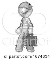 Poster, Art Print Of Sketch Thief Man Walking With Briefcase To The Left