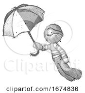 Poster, Art Print Of Sketch Thief Man Flying With Umbrella