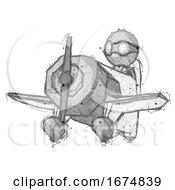 Poster, Art Print Of Sketch Thief Man Flying In Geebee Stunt Plane Viewed From Below