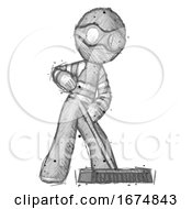 Poster, Art Print Of Sketch Thief Man Cleaning Services Janitor Sweeping Floor With Push Broom
