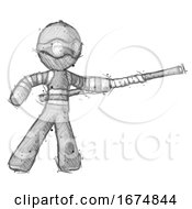 Poster, Art Print Of Sketch Thief Man Bo Staff Pointing Right Kung Fu Pose