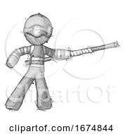 Sketch Thief Man Bo Staff Pointing Right Kung Fu Pose