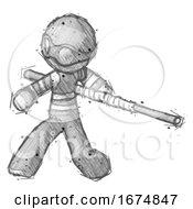 Sketch Thief Man Bo Staff Action Hero Kung Fu Pose