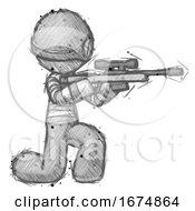 Sketch Thief Man Kneeling Shooting Sniper Rifle