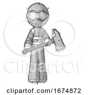 Sketch Thief Man Holding Fire FighterS Ax
