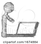 Sketch Thief Man Using Large Laptop Computer Side Orthographic View