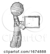 Sketch Thief Man Show Tablet Device Computer To Viewer Blank Area