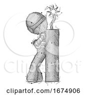 Poster, Art Print Of Sketch Thief Man Leaning Against Dynimate Large Stick Ready To Blow