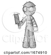 Poster, Art Print Of Sketch Thief Man Holding Meat Cleaver