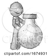 Sketch Thief Man Standing Beside Large Round Flask Or Beaker