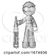 Sketch Thief Man Standing With Large Thermometer