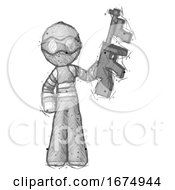 Sketch Thief Man Holding Tommygun