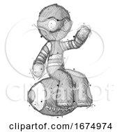 Sketch Thief Man Sitting On Giant Football