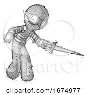 Sketch Thief Man Sword Pose Stabbing Or Jabbing