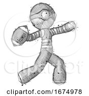 Sketch Thief Man Throwing Football