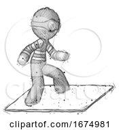 Sketch Thief Man On Postage Envelope Surfing