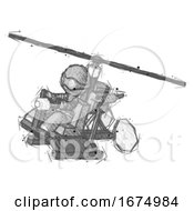 Sketch Thief Man Flying In Gyrocopter Front Side Angle Top View