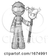Poster, Art Print Of Sketch Thief Man Holding Jester Staff