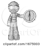 Sketch Thief Man Holding A Large Compass