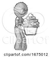 Sketch Thief Man Holding Large Cupcake Ready To Eat Or Serve