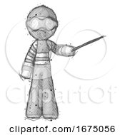 Poster, Art Print Of Sketch Thief Man Teacher Or Conductor With Stick Or Baton Directing