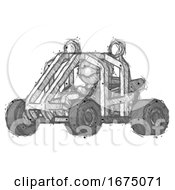 Sketch Thief Man Riding Sports Buggy Side Angle View