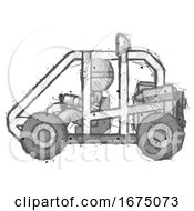 Sketch Thief Man Riding Sports Buggy Side View