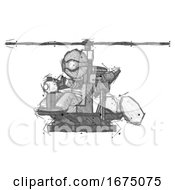 Sketch Thief Man Flying In Gyrocopter Front Side Angle View