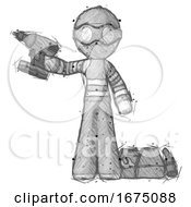 Sketch Thief Man Holding Drill Ready To Work Toolchest And Tools To Right