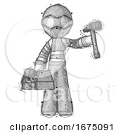 Sketch Thief Man Holding Tools And Toolchest Ready To Work