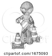 Poster, Art Print Of Sketch Thief Man Holding A Traffic Cone