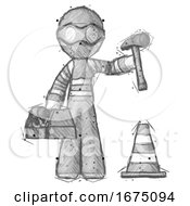 Sketch Thief Man Under Construction Concept Traffic Cone And Tools