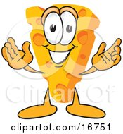 Poster, Art Print Of Wedge Of Orange Swiss Cheese Mascot Cartoon Character With Welcoming Open Arms