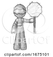 Poster, Art Print Of Sketch Thief Man Holding Stop Sign