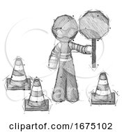 Poster, Art Print Of Sketch Thief Man Holding Stop Sign By Traffic Cones Under Construction Concept