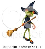 3d Witch Frog On A White Background by Julos