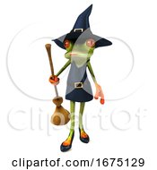 3d Green Female Springer Frog Witch Holding A Broom On A White Background