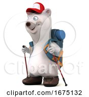 Poster, Art Print Of 3d Backpacking Polar Bear On A White Background