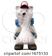 3d Backpacking Polar Bear On A White Background