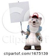 3d Polar Bear Hiker On A White Background